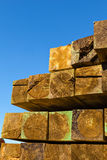 Balk. Image of  stacked  balks in a sawmill Royalty Free Stock Photography