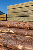 Balk. Image of  stacked boards and balks in a sawmill Royalty Free Stock Images