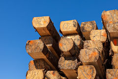 Balk. Image of  stacked logs and balks in a sawmill Royalty Free Stock Photo