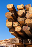 Balk. Image of  stacked logs and balks in a sawmill Royalty Free Stock Photos