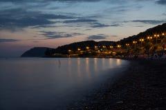 Balka di Shirokaia paesaggio di sera della spiaggia Fotografie Stock Libere da Diritti
