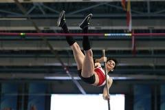 Balkan Athletics Indoor Championships. ISTANBUL, TURKEY - FEBRUARY 21, 2015: Turkish athlete Buse Arikazan pole vaulting during Balkan Athletics Indoor Stock Photos