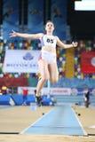 Balkan Athletics Indoor Championships. ISTANBUL, TURKEY - FEBRUARY 17, 2018: Undefined athlete long jumping during Balkan Athletics Indoor Championships Stock Photos