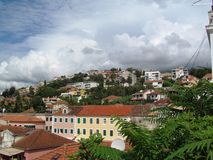 Balkan city. The clouds above the town of Herceg Novi Royalty Free Stock Photos