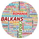 Balkan Countries and Cities Collage. Word collage about Balkan countries and cities Royalty Free Stock Photography