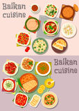 Balkan cuisine dinner dishes with pies icon set. Balkan cuisine icon set with tomato, pepper and fish salads, tomato pepper stew, paprika cheese spread, baked Royalty Free Stock Photo