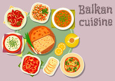 Balkan cuisine dishes for dinner menu design. Balkan cuisine traditional tomato and pepper stew icon served with cheese soup with egg, fish stew with lemon Royalty Free Stock Photo