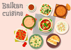 Balkan cuisine savory dishes icon for menu design Royalty Free Stock Photography