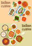 Balkan cuisine traditional dishes icon set design. Balkan cuisine icon set of meat stews with vegetables, cheese, sausage and bean, grilled pork with veggies Royalty Free Stock Photo
