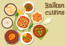 Balkan cuisine traditional meat dishes icon. Balkan cuisine meat dishes icon with pepper pork stew, beef stew with cheese, baked fish with vegetables, lamb Royalty Free Stock Images