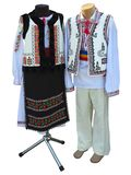 Balkan embroidered national traditional costumes clothes isolate royalty free stock photos