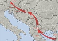 Balkan flyttande rutt Arkivbild