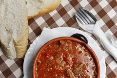 Balkan food mineštra with bread Stock Photo
