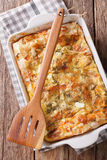 Balkan food: Serbian pie Gibanica with cheese, eggs and greens c royalty free stock photos