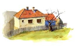 Balkan houses. A watercolour sketch of balkan houses vector illustration