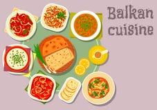 Balkan kokkonstdisk för matställemenydesign royaltyfri illustrationer