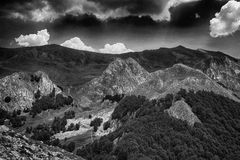 Balkan mountains black and white Stock Photography