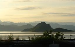 Evening landscape of the Balkan Mountains and Lake Skadar royalty free stock image