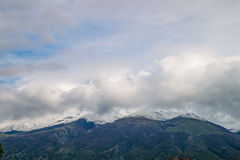 Balkan Mountains snowcapped peaks. Snowed peaks covered in clouds royalty free stock photo
