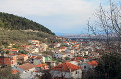 Balkan village (Montenegro, Ulcinj area, winter). Balkan village near the mountains, olivewood and Adriatic sea (Montenegro, Ulcinj area, winter Stock Images