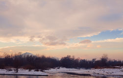 Balkan Winter Landscape. Landscape of winter scene over the river during day Stock Photography