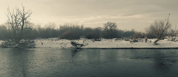 Balkan Winter Landscape. Landscape of winter scene over the river during day Stock Photos