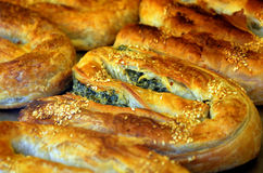Balkans pastry borek on display in a bakery Stock Image
