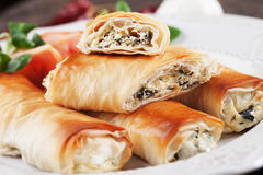 Balkans phyllo pastry pie. Pita zeljanica, balkans phyllo pastry pie filled with spinach and cheese Royalty Free Stock Photography