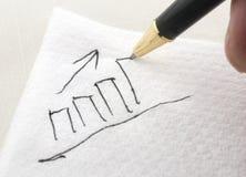 Balkendiagramm, das auf eine Serviette gezeichnet wird Lizenzfreies Stockbild