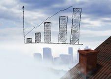 Balkendiagramm erhöht über Dach und Stadt Stockfotografie