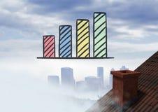 Balkendiagramm erhöht über Dach und Stadt Lizenzfreie Stockfotos
