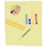 Balkendiagramm und Kreisdiagramm auf Anmerkungspapier Lizenzfreies Stockfoto