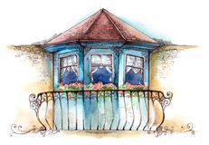 Balkon stock illustratie
