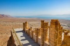 Balkon in den Masada-Ruinen nahe dem Toten Meer in Israel stockfoto