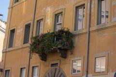 Balkon in der Stadt von Rom überwuchert mit Blumen stockfotografie