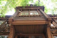 Balkon des Holzes Stockfoto
