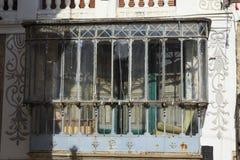 Balkon in het oude dorp van Candelario in Spanje 24 september 2017 Spanje Royalty-vrije Stock Afbeeldingen