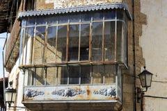 Balkon in het oude dorp van Candelario in Spanje 24 september 2017 Spanje Stock Afbeeldingen