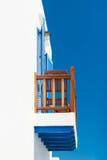 Balkon im griechischen cycladic Haus Stockfotos