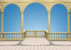 Balkon met balustrade, kolommen, bogen en gipspleister het 3D teruggeven stock foto's