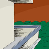 Balkon met Blinde muur Royalty-vrije Stock Foto's