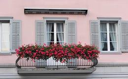 Balkon met bloemen Royalty-vrije Stock Afbeeldingen