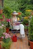 Balkon met bloemen Stock Foto