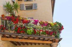 Balkon met bloemen Stock Afbeelding