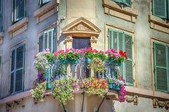 Balkon met bloempotten royalty-vrije stock foto