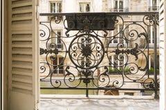 Balkon mit dekorativem Geländer und Fensterläden in Paris, Frankreich lizenzfreie stockfotos