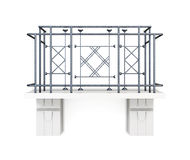 Balkon mit einem Metallzaun auf einem weißen Hintergrund Wiedergabe 3d Stockfoto