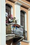 Balkon na Starym Grodzkim budynku mieszkaniowym w Quito, Ekwador obrazy stock