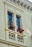 Balkon na Starym Grodzkim budynku mieszkaniowym w Quito, Ekwador obraz royalty free