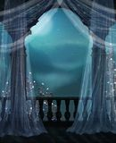 Balkon nachts Lizenzfreie Stockfotografie